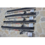 Set 4 Lansete 2,4 Metri Power Plus + 4 Mulinete Mifine Keen 4 Rulmenti + Nylon